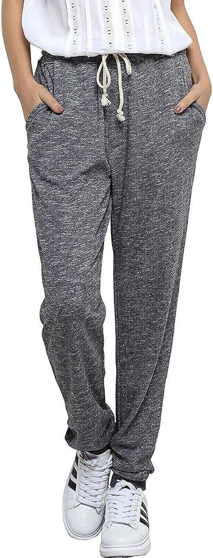 SUNNYME Jogging Femme Pantalon de Sport Yoga Gym avec Poches Pantalons Casual Gris