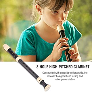 8 Hole Soprano Recorder in Key of C, Beginner Level Woodwinds Musical Instrument with Cleaning Rod and Case (British/Baroque Style)