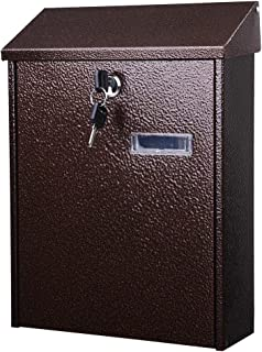 Yescom Wall Mount Steel Mail Box Lockable Letterbox w/Retrieval Door & 2 Keys Home Office Post Security Outdoor