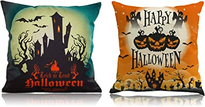 YEFAF Halloween Pillow Covers, 2 Pack Happy Halloween Decorative Throw Pillow Case Square Cushion Cover Cotton Linen, 18x18 Inches (Halloween Style1)