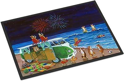 Caroline's Treasures 7317MAT Corgi Beach Party Volkswagon Bus Fireworks Indoor or Outdoor Mat, 18 x 27, Multicolor