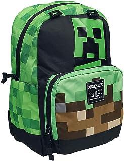 """JINX Minecraft Creepy Things Kids School Backpack, Green. 17"""""""
