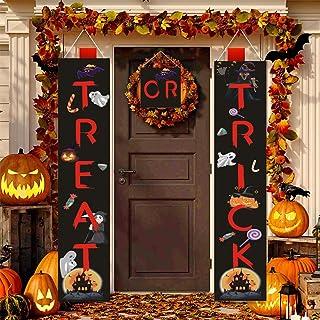 لافتة هالوين بعبارة Trick or Treat لديكورات الهالوين في الهواء الطلق للباب الأمامي أو ديكور المنزل الداخلي، سهلة الاستخدام...
