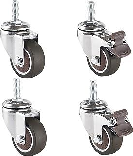 LKLXJ Draaibare zwenkwielen, Heavy Duty zwenkwielen met rem, Schroefdraadverbinding M8X20mm, Niet gemakkelijk vervormd, Ge...