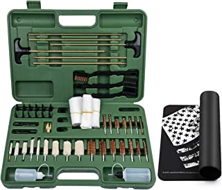 IUNIO Universal Gun Cleaning Kit with Mat Carrying Case for Rifle Pistol Handgun Shotgun Hunting Shooting All Caliber