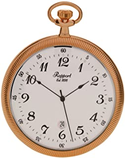 Vintage Pocket Watch with Chain by Rapport - Classic Oxford Open Face Pocket Watch with Date