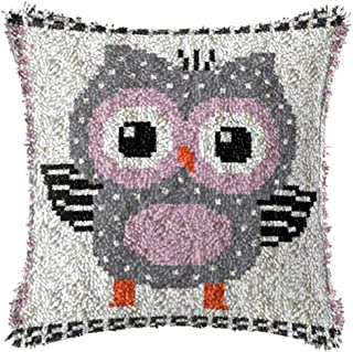 X-xyA Latch Hook Kits Pillowcase DIY Embroidery Kit Cushion for Christmas Home Decoration Owl 17 X 17 Inch,A,17 X 17 inch