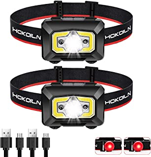 Headlamp Flashlight, HOKOILN 500 Lumen Ultra-Light Bright LED Rechargeable Headlight with White Red Light, 2 Pack Waterproof Motion Sensor Head Lamp, 8 Modes for Outdoor Camping Cycling Running Fishin