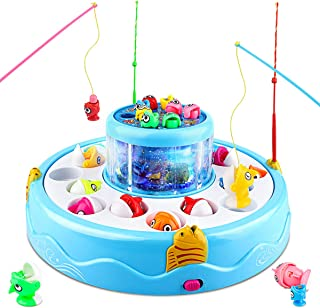 Baztoy Juguete de Pescar Mesa, Doble Capa Juego Pescar Peces para Niños con Musical, Juguete de Pesca para Niños 2 3 4 5 6...