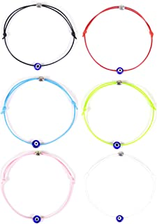 HUNO 6Pcs/Set Evil Eye Ankle Bracelet Lucky Amulet Blue Eye Waterproof String Anklets for Women Girls Kabbalah Protection ...