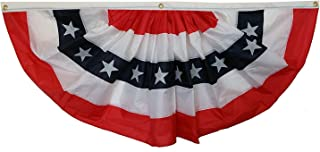 GiftWrap Etc. Patriotic Bunting Banner American Flag - 3' x 6' Pleated Fan Flag, Veterans Day, Memorial Day, 4th of July, USA, Red White and Blue Outdoor Décor, Election, Rally, Voting Booth