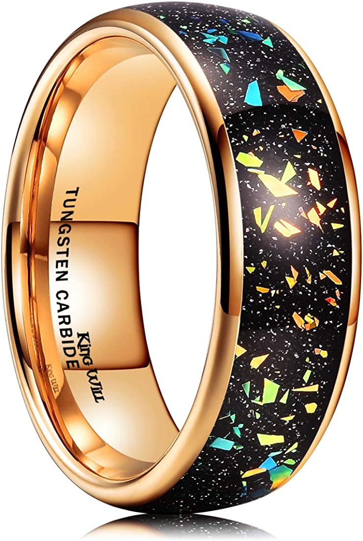 King Will Mens 8mm Tungsten Carbide Wedding Ring Colorful Fragments Inlay / Steel Wire Inlay Domed Style High Polished