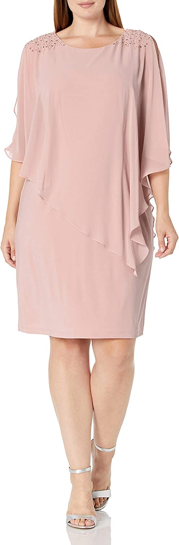 S.L. Fashions Women's Plus Size Short Cape Dress with Beaded Detail