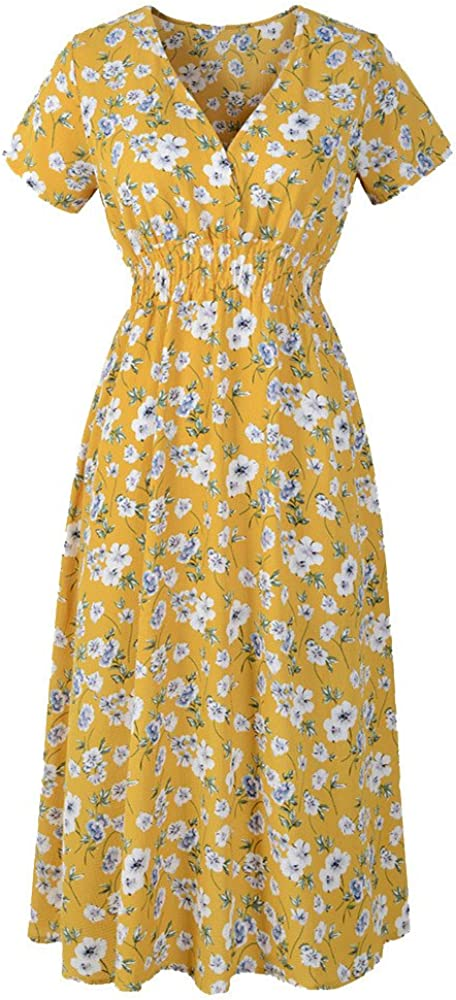 Women's Floral Dresses Summer Dress Party Dress Loose Print Comfort V Neck Short Sleeve Beach Skirt Oversize