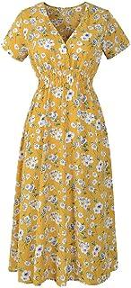 Fankle Women's Summer Dress Casual Chiffon Floral Print V-Neck Short Sleeve High Waist Beach Midi Dress Holiday Sundress