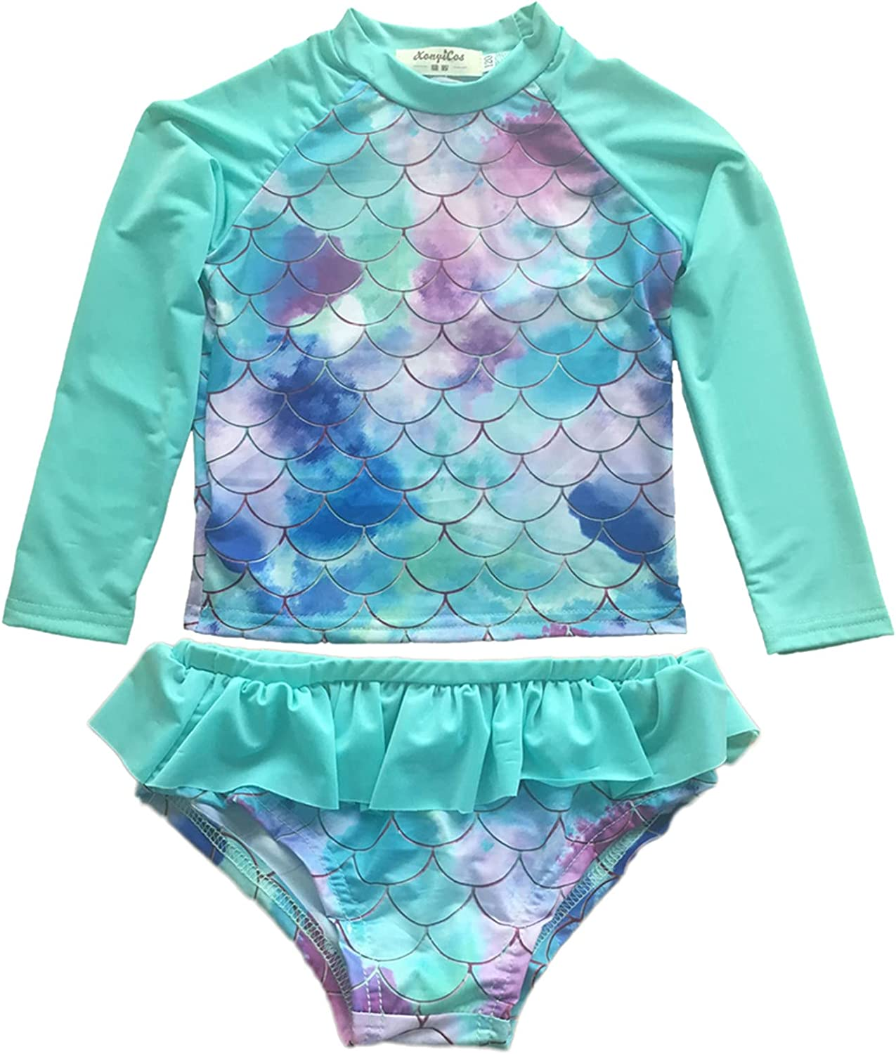 XonyiCos Little Girls Rash Product Guard Swimsuit Set OFFicial mail order P Sleeve Two Long