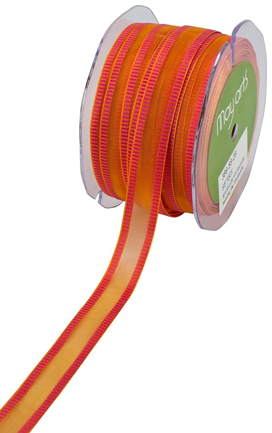 May Arts 5/8-Inch Wide Ribbon, Orange Sheer with Pink Striped Edge