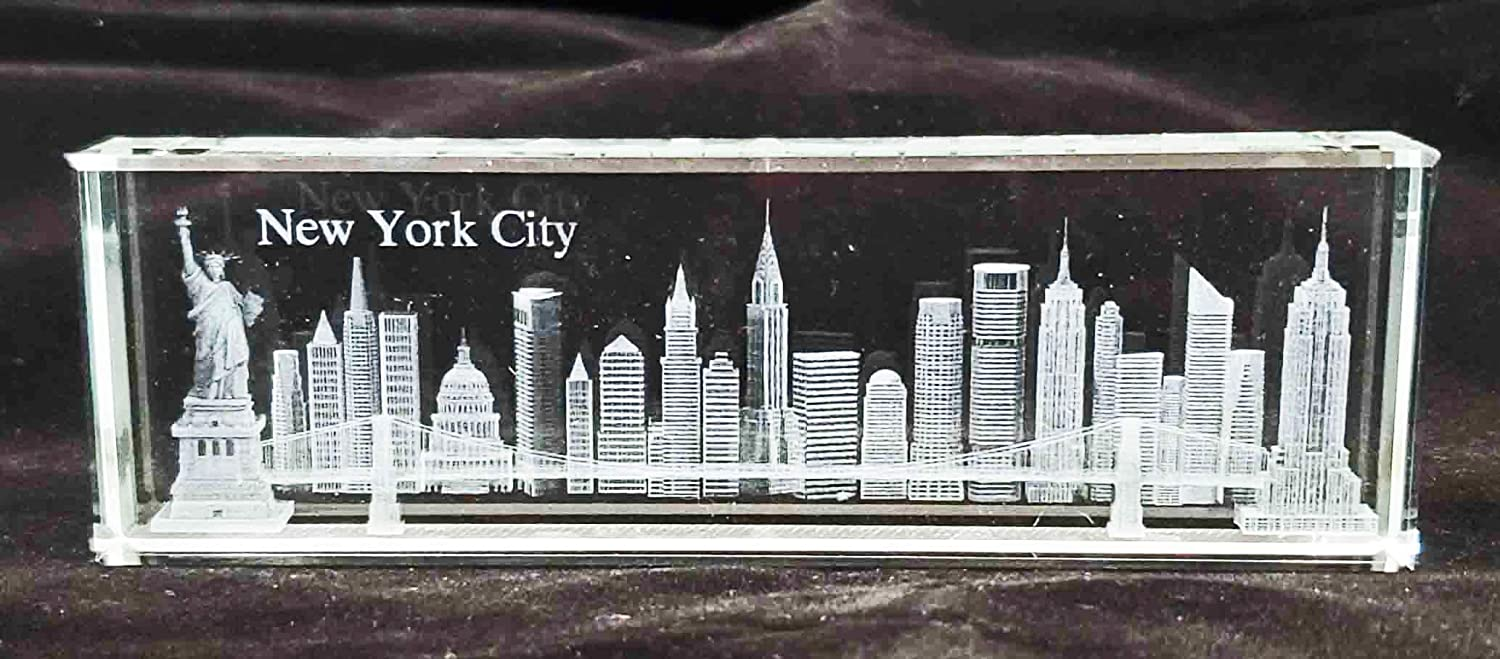 New York Max 53% OFF Souvenir Max 74% OFF NYC Skyline 3D Laser Etched Crystal Glass Pape