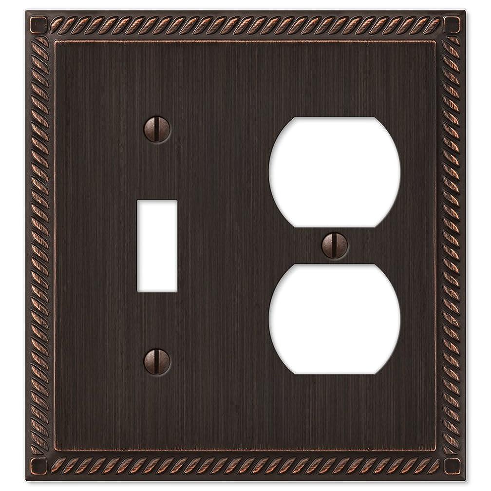 傷つきやすい真鍮コミュニティGeorgian Aged Bronze Cast Single Toggle/Single Duplex Wallplate