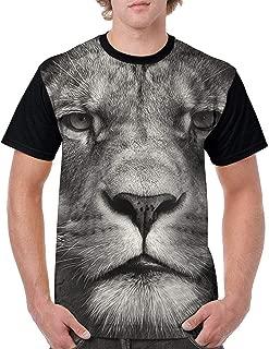 9 Men's T-Shirts 3D Big Face Lion Print Short Sleeve Shirts Tees