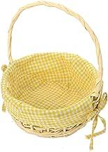 Yardwe Wicker Rattan Flower Basket Handheld Wedding Flower Girl Baskets Handwoven Bow Picnic Basket Gingham Liner Candy Gi...