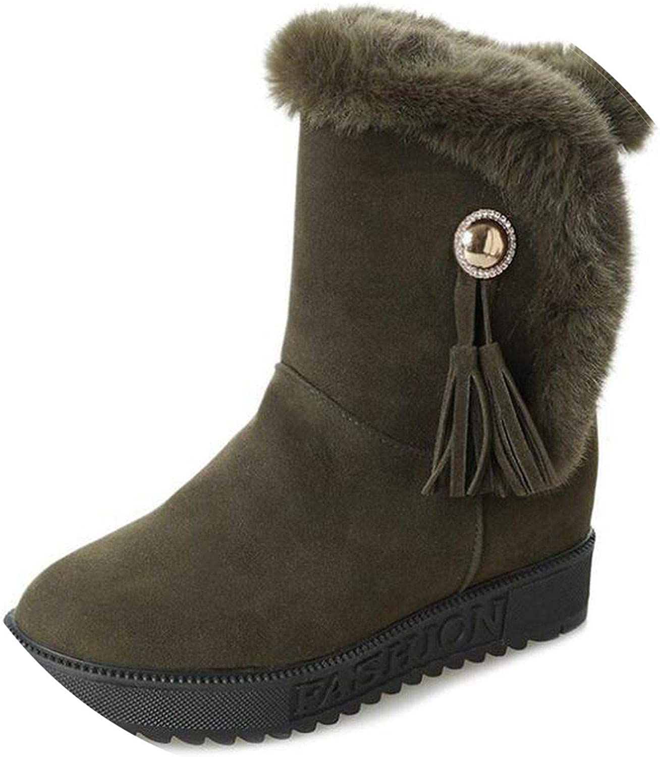 Summer-lavender Tassels Women shoes Warm add Cotton Ankle Boots Buckle Solid Martin Boots Winter Snow Boots