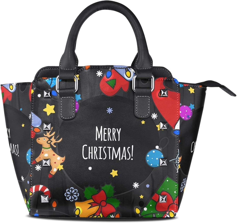 My Little Nest Women's Top Handle Satchel Handbag Merry Christmas Theme Ladies PU Leather Shoulder Bag Crossbody Bag