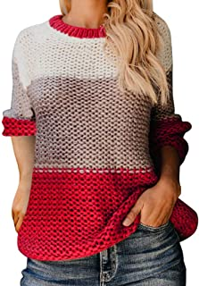 OFEFAN Womens Color Block Oversized Crewneck Sweaters Striped Long Sleeve Loose Chunky Knitted Pullover Jumper Tops