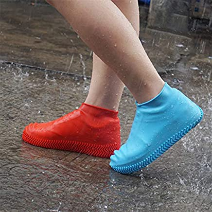 Clomana® Waterproof & Rainproof Non Sleep Reusable Water Sand Rain Protective Silicone Shoe Covers (Multi Color Will Ship)