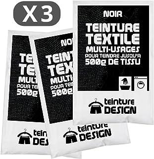 Lot de 3 sachets de Teinture Textile - NOIR - teintures universelles pour vêtements et tissus naturels