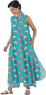RADANYA Long Tops Tunic Kurta Kurti, Womens Long Sleeveless Printed Tunic Loose Casual Kurta Kurti