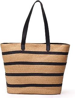 JOSEKO Sommer-Strandtasche, Frauen-Stroh-Papierhandtasche mit Griff oben, große Kapazität, Reise-Handtasche