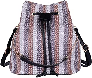 Treaxer Womens Fashion Woven Bucket Bag Versatile Shoulder Bag Bucket Type Backpack
