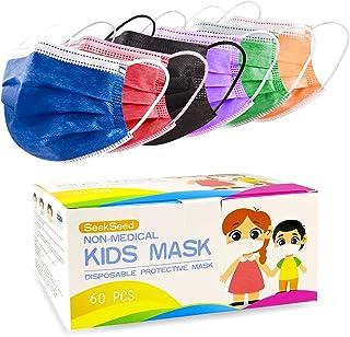 ماسک های یکبار مصرف بچه ای 60PCS ، ماسک های ایمنی تنفسی کودکان Unisex ، روکش محافظ صورت چند رنگ برای دختران پسران