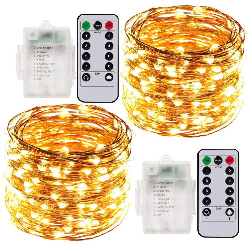 Cadena de Luces LED, 2 x 10 Meter Luces Navidad a Pilas Exterior e Interior, 100 LEDs Guirnaldas Luminosas Navidad Decorativas Impermeables Control Remoto(Amarillo Cálido): Amazon.es: Iluminación
