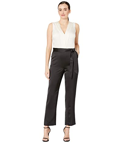 Vince Camuto Sleeveless Soft Satin Belted Color Block Jumpsuit (Rich Black) Women
