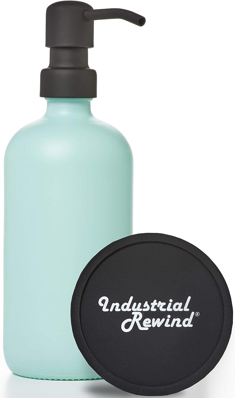 Seafoam Green Glass Soap Dispenser Great interest with Black Rare Inclu Pump Metal -