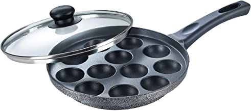 Prestige Omega Select Plus Non-Stick Paniyarakkal with Lid (240 mm, Black)- Gas Top Compatible only