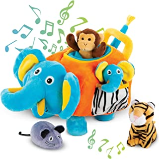 Bundaloo Plush Elephant Toy With Animals - Tiger, Elephant, Monkey, and Mouse, Interactive Fun Baby Toys 12-18 Months for Boys, Girls, Toddlers
