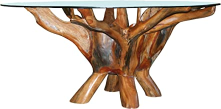 Teak Root Coffee Table Including 43 Inch Round Glass Top, Made from Solid A-Grade Teak Wood, by Chic Teak