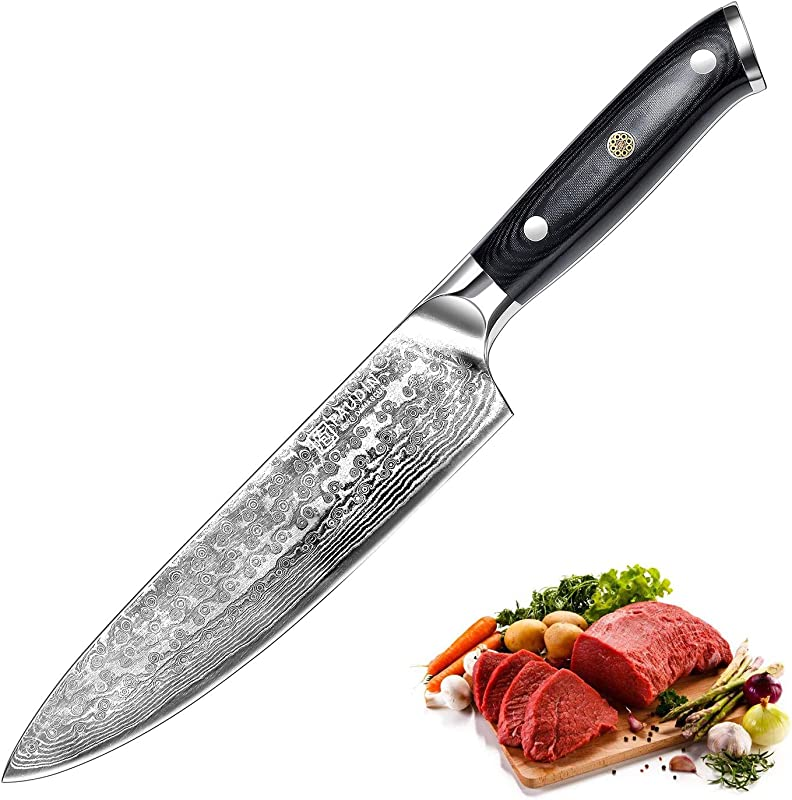 PAUDIN Damascus Chef Knife Ultra Sharp 8 Inch Kitchen Knife Japanese AU10 Steel Chefs Knife With Ergonomic Micarta Handle Cooking Knife Ideal For Home Kitchen And Restaurant