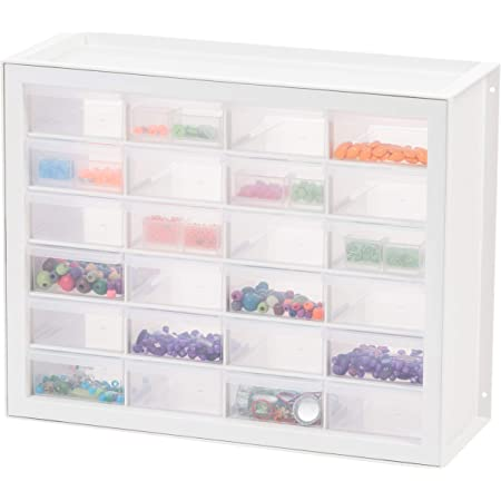 IRIS USA, Inc DPC-24 24 Drawer Sewing And Craft Parts Cabinet, 19.5 Inch By 15.5 Inch By 7 Inch, White (587631)