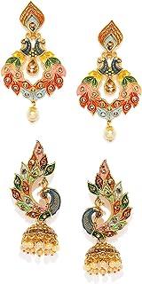 ZAVERI PEARLS Women's Non Precious Metal Jhumki Earrings (Multicolour, ZPFK9024)