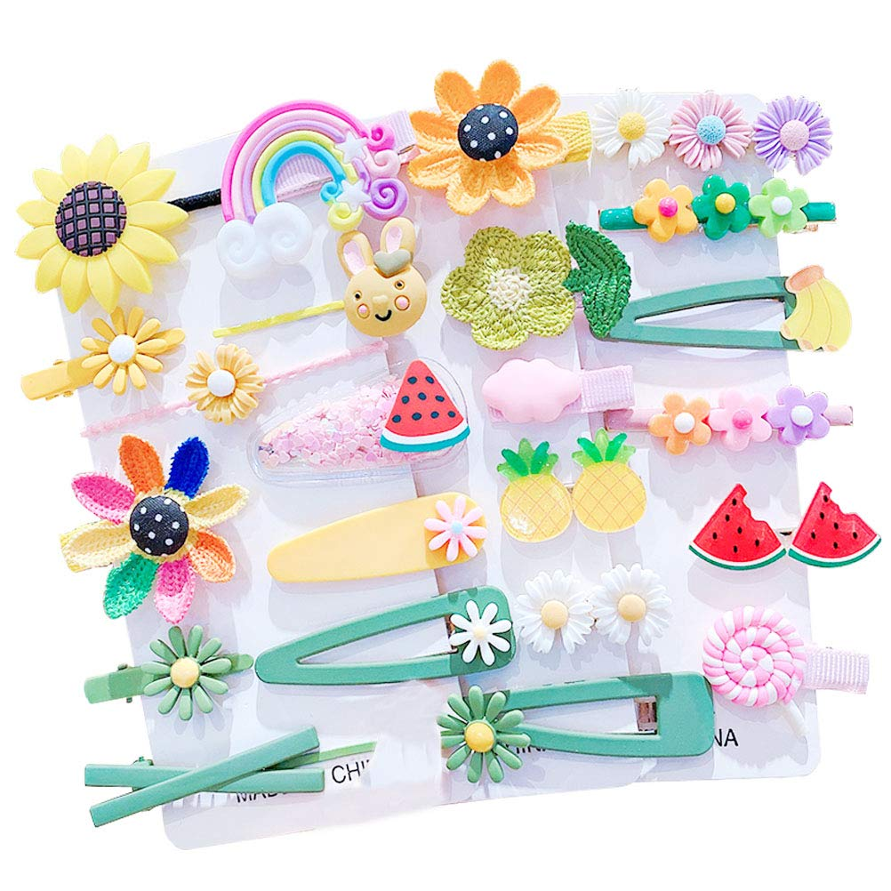 Baby Girl's Hair Clips Cute Hair Accessories Colorful Rainbow Flower Fruit Dessert Patterns Barrettes For Baby Girls Teens Toddlers, Assorted styles, 24pcs pieces Pack (Style13)