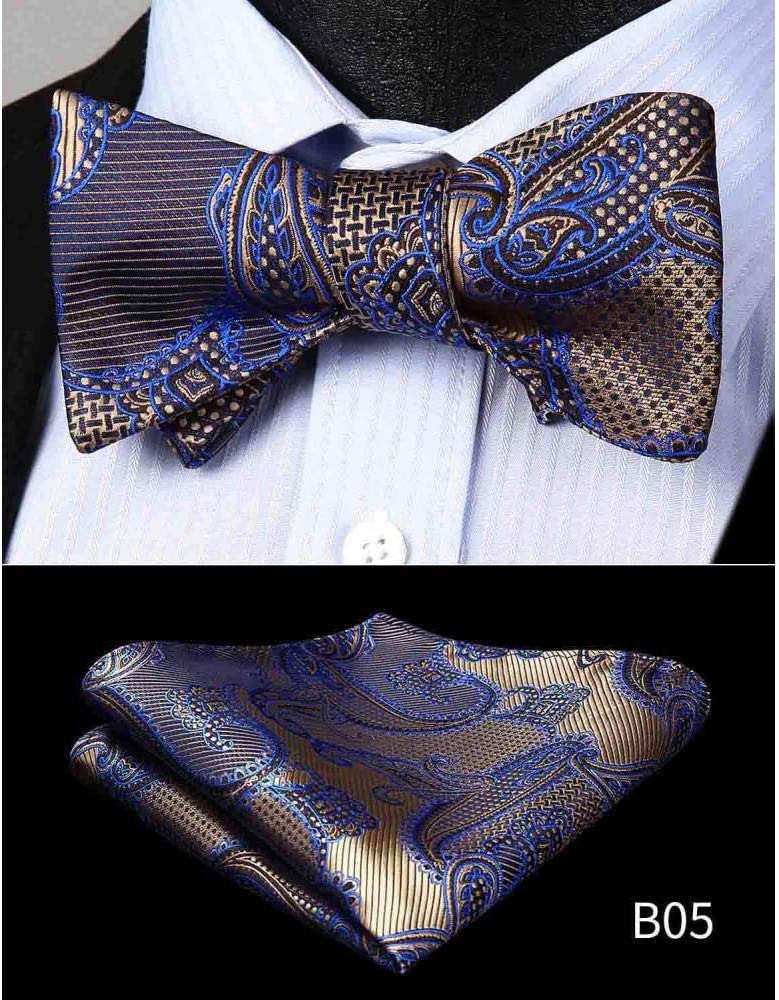 ZXCVBN Men Floral Silk tie Jacquard Woven Men Butterfly Self Pocket Square Handkerchief Suit Set