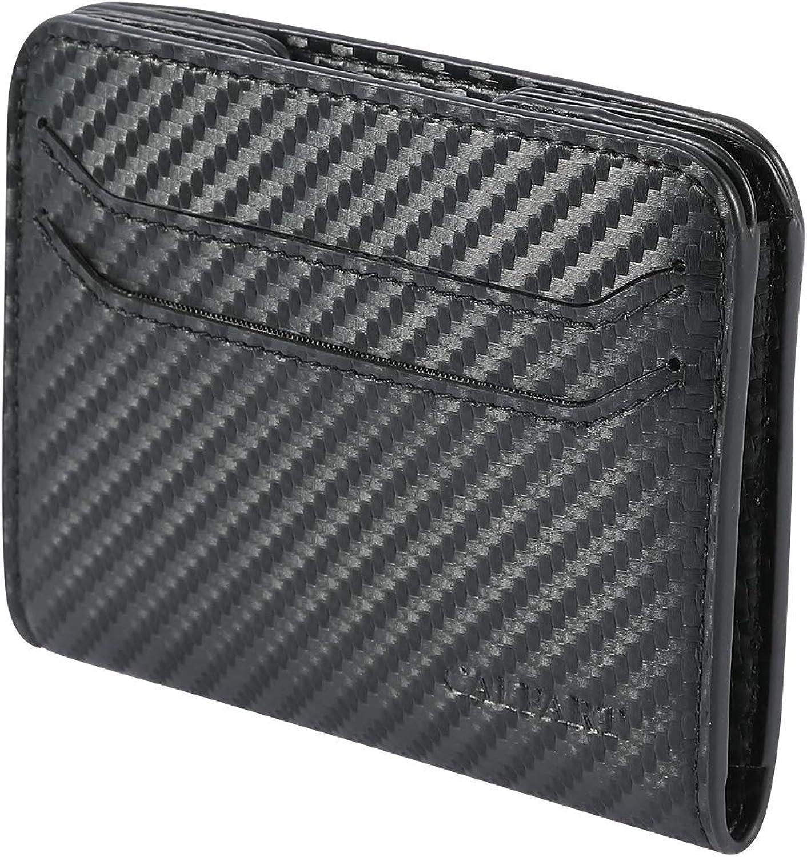 Minimalist Slim Magnetic Money Clip Front Pocket Wallets For Men, RFID Carbon Fiber Thin Credit Card Mens Wallet Leather
