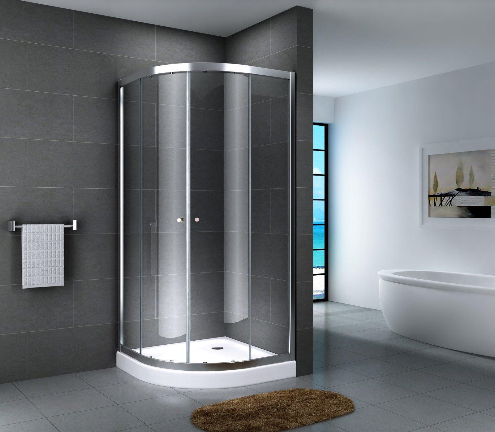 Cabina de ducha en forma de cuarto de círculo para esquina, mampara de cristal ESG, plato de ducha, puerta corredera, ducha completa, transparente, cristal opalino satinado duchas, vidrio de seguridad, 80 x