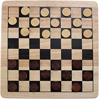 Brybelly 2-in-1 Checkers & Tic-Tac-Toe Game Set – Reversible, All-Natural Wood Board with Wooden Pieces, Classic Family Games