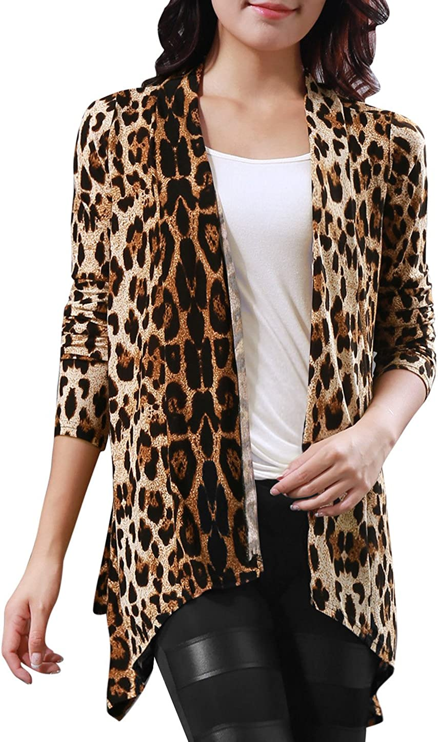 Allegra K Women's Long Sleeves Open Front Leopard Prints Cardigan