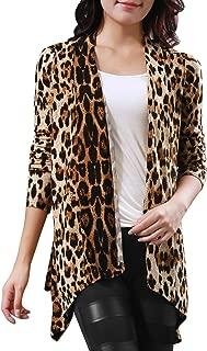 Allegra K Women Long Sleeves Open Front Leopard Prints Cardigan